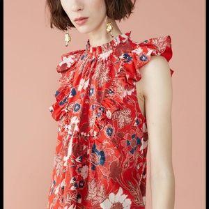 Ulla Johnson Ida Top in Scarlet Red Size 8 EUC